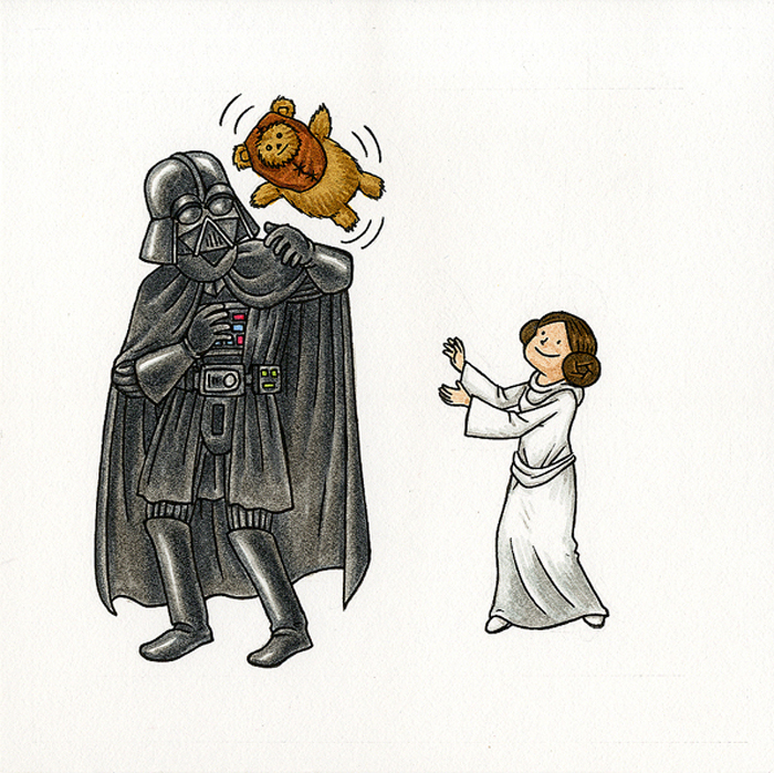 "From Jeffrey Brown's ""Vader's Little Princess."" Brown's exhibition at Eder's Brooklyn gallery runs through Nov. 15. And if you have enough midichlorians, you can buy this there."