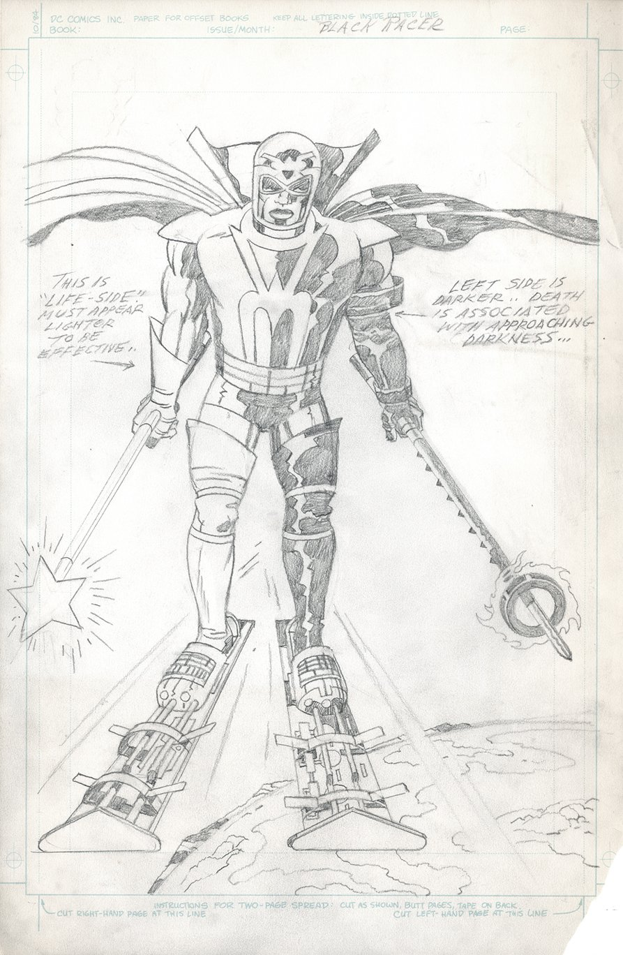 Some fantastic New Gods Black Racer concept art for the '80s Super Powers series from DC. This was sold by Eder.