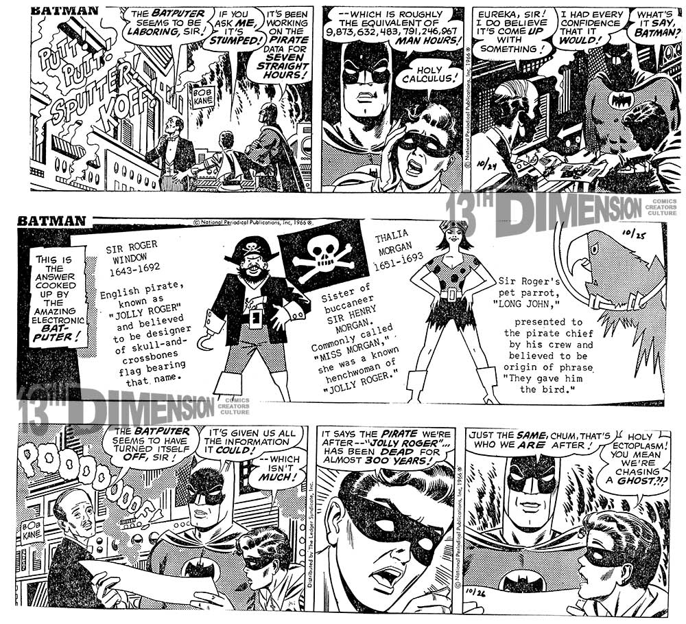 Daily strips, before restoration. Batman ™ and © 2014 DC Comics.