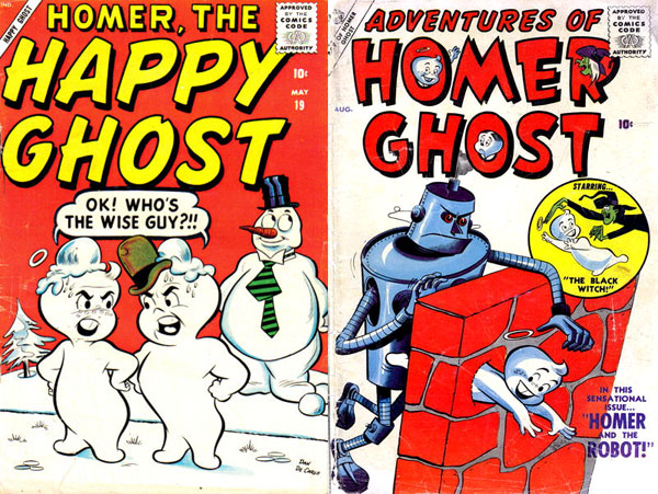 Atlas-era Homer. Left: Homer, the Happy Ghost #19 (May 1958), art by Dan DeCarlo. Right: Adventures of Homer Ghost #2 (August 1957), art by Tony DiPreta.