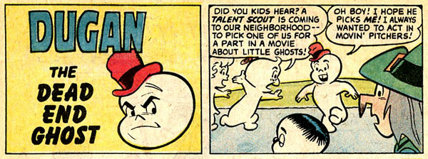 "The ghost of ""Dum-Dum"" Dugan? Panels from Homer, The Happy Ghost #1 (November 1969), script by Stan Lee, art by Dan DeCarlo."