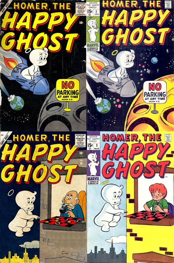 Left: Original 1950s Homer covers. Right: 1970 reprints altering art and removing Dan DeCarlo's signature.