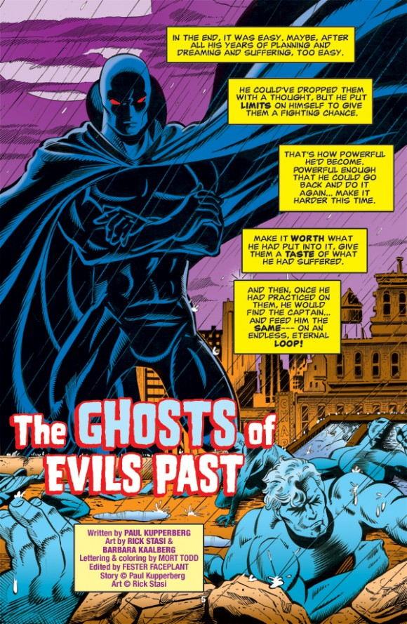 "Splash page to ""The Ghosts of Evils Past"" by writer Paul Kupperberg, penciler Rick Stasi and inker Barbara Kaalberg."