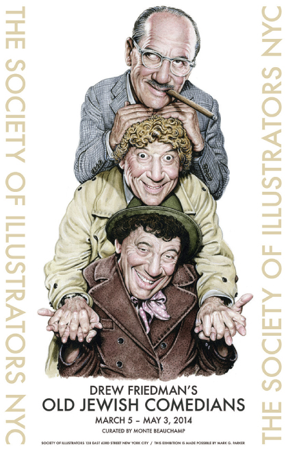 A circa-1960 vision of the Marx Brothers heralds the opening reception for Drew Friedman's solo show OLD JEWISH COMEDIANS.