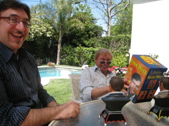 Ruben and Adam West, with some of Ruben's sculptures of the actor.