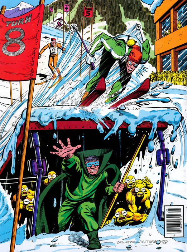 Back cover of Marvel Treasury Edition #25 (1980), art by Bill Sienkiewicz and Bruce Patterson