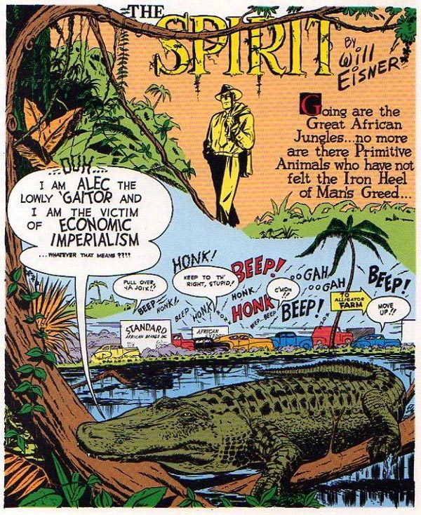 """Alligator Farm"" (June 4, 1950), script by Jules Feiffer, art by Will Eisner and Andre LeBlanc"