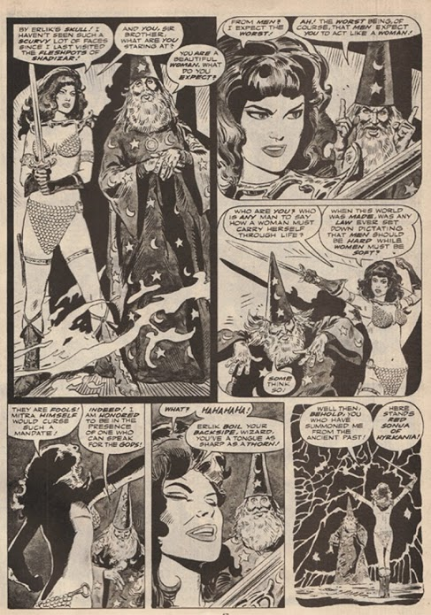From a Frank Thorne Red Sonja story. Note the resemblance?