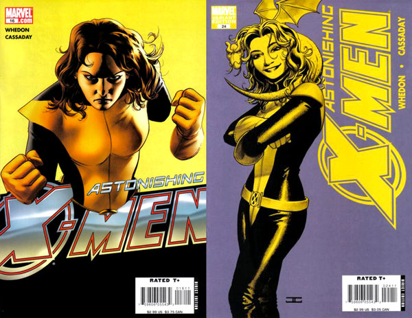 covers of Astonishing X-Men #16 and 24 (2006 and 2008), art by John Cassaday