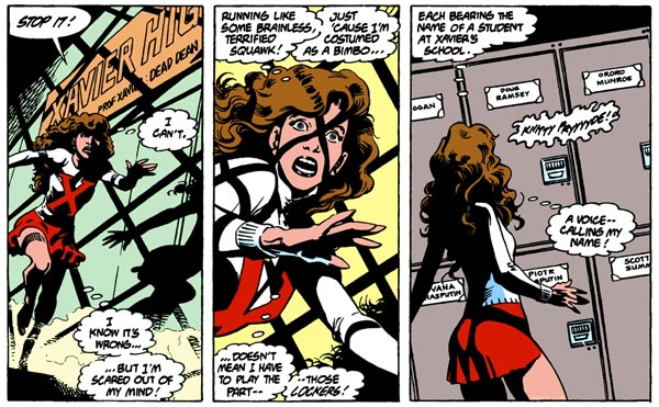 from Excalibur #7 (1989), script by Chris Claremont, art by Alan Davis and Paul Neary