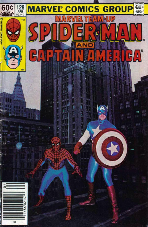 Marvel Team-Up #128 (1983), photo by Eliot R. Brown of John Morelli as Spider-Man and Joe Jusko as Captain America