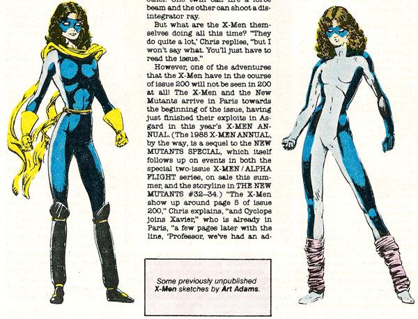 from Marvel Age #32 (1985), art by Art Adams
