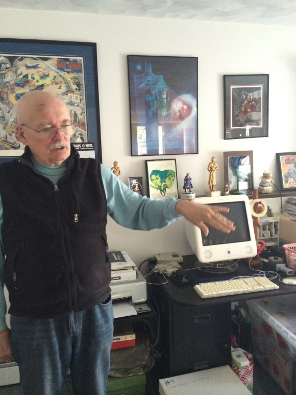 Denny O'Neil in his home office.