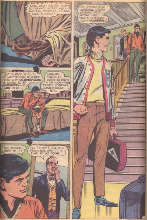 From the opening sequence of Batman #217. Cover-dated, Dec. 1969. Script by Frank Robbins. Pencils by Irv Novick and inks by Dick Giordano.