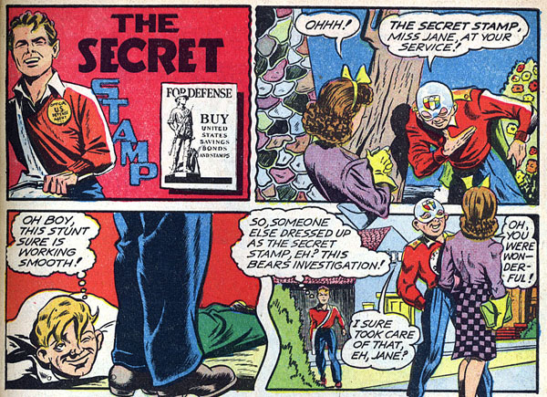 "from ""The Secret Stamp"" in Captain America Comics #19 (1942), script by Stan Lee, art by Don Rico"