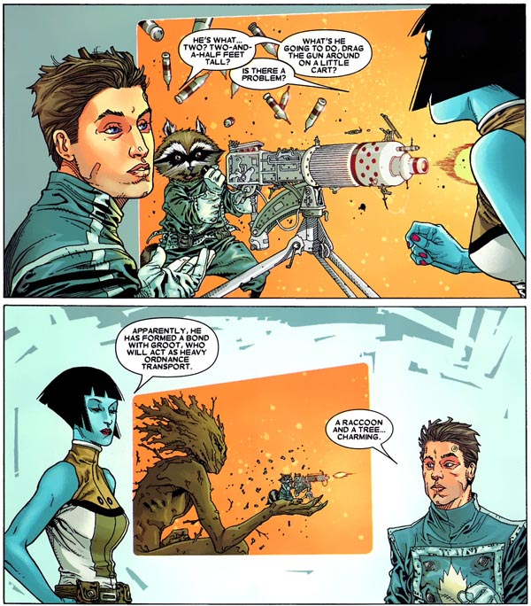 panels from Annihilation: Conquest—Starlord #1 (2007), script by Keith Giffen, art by Timothy Green II and Victor Olazaba