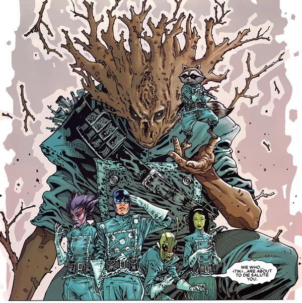 panel from Annihilation: Conquest—Starlord #1 (2007), script by Keith Giffen, art by Timothy Green II and Victor Olazaba
