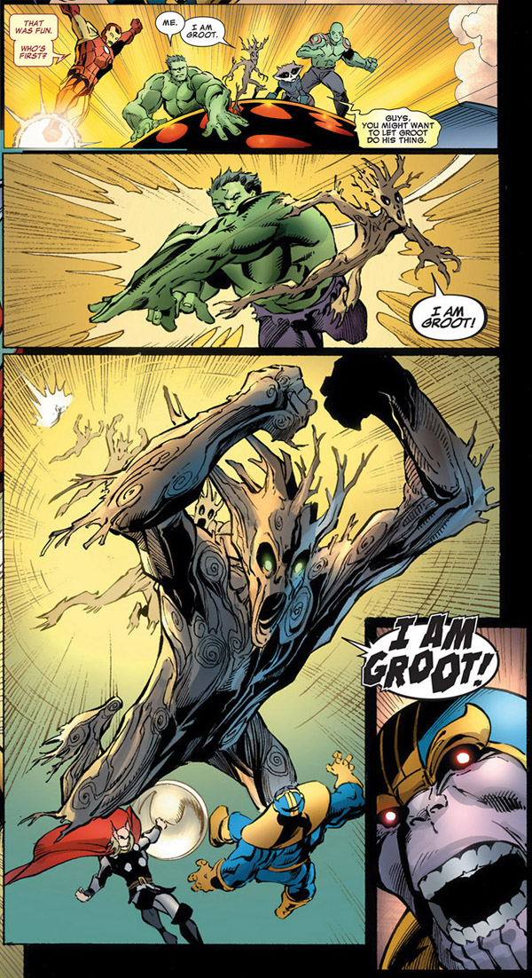 panels from Avengers Assemble #8 (2012), script by Brian Michael Bendis, art by Mark Bagley and Danny Miki