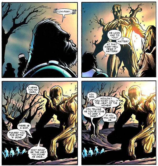 panel from Nick Fury's Howling Commandos #5 (2006), script by Keith Giffen, art by Derec Donovan