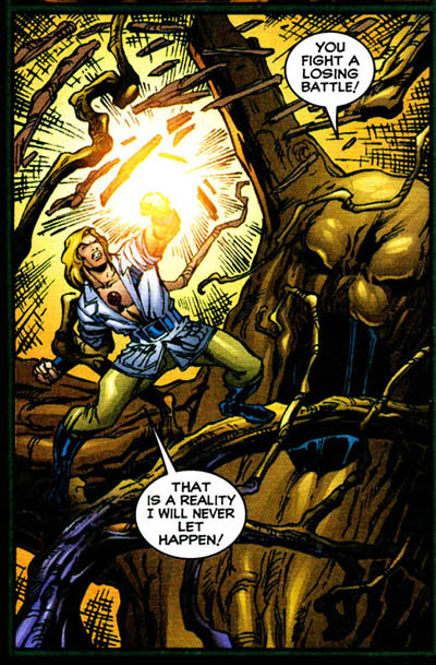 panel from The Supernaturals #4 (1998), script by Brian Pulido and Marc Andreyko, art by Ivan Reis and Joe Pimental