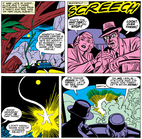 panels from Tales to Astonish #13, script by Larry Lieber (?), art by Jack Kirby and Dick Ayers