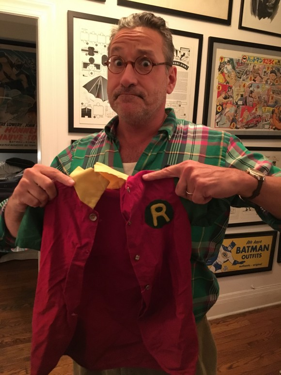 Chip Kidd and the Robin costume his mother made for him when he was a kid