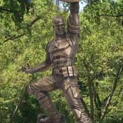 MARK GRUENWALD'S Ashes Sprinkled at Brooklyn's CAPTAIN AMERICA Statue