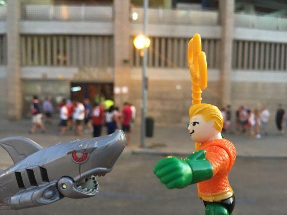 """Hey! Robot Shark! How'd you get to Madrid? It's inland!"" ""ROBOT Shark, Aquaman..."""