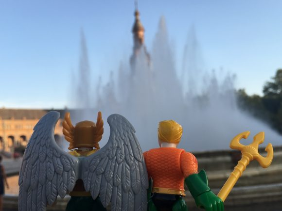 """""""Hey, guess what. I took Bruce to a fountain in Barcelona and he pulled that whole 'I only have time for JUSTICE' thing."""" """"Oh, I hate when he does that."""""""
