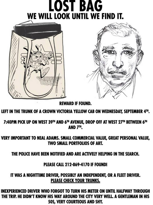 Artwork wanted poster depicting cab driver and bag.