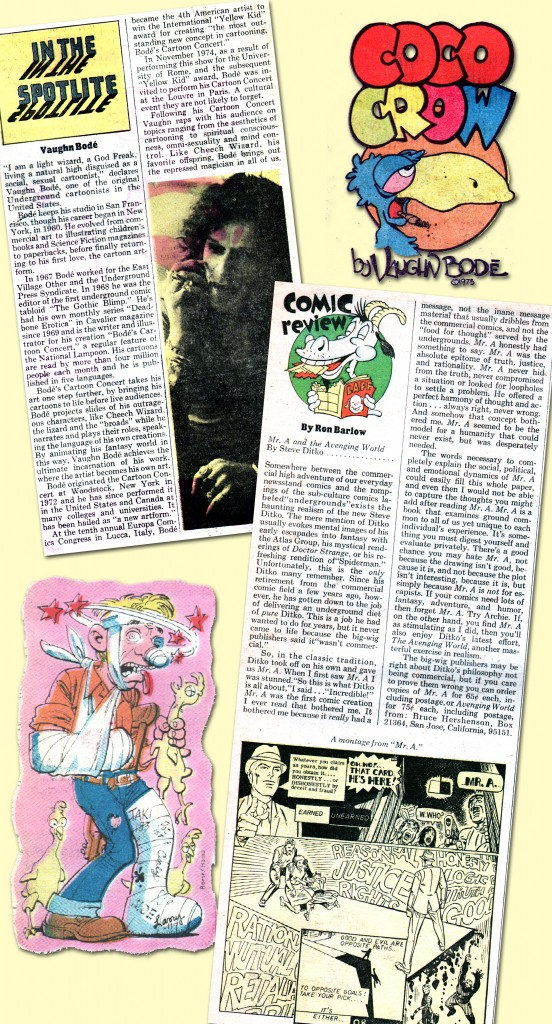 "Not only were the pages of The Funny Papers filled with outstanding comix material but the text contained articles of note to us comic book aficionados, including this pair of features on, respectively, the late, great creator of Cheech Wizard, Vaughn Bodé, and co-creator of Spider-Man and Doctor Strange, Steve Ditko, the latter reviewing the Sturdy One's excellent Mr. A comics. To balance out the graphic, we're including an illustration by Ralph Reese and Larry Hama, at bottom left, which graced a ""Hassles"" column offering advice regarding troubles with ""The Man,"" man! ©2013 the respective copyright holders."