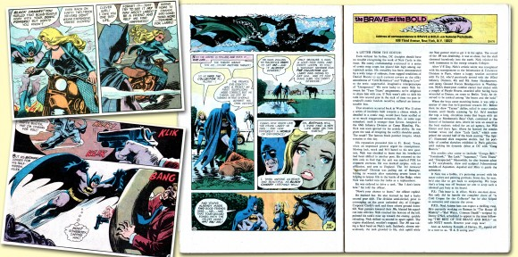 Evocative panels from B&B #91, plus the story's final page (with somewhat off-key comedic final panel), and the opposing page letter column, which featured a nice profile on the artist by editor Murray Boltinoff. Yours truly was consistently impressed with the title during much of its Batman team-up run, not only because of the excellent artists working on the title but very often due to Bob Haney's expert and engrossing writing. TM & © DC Comics.