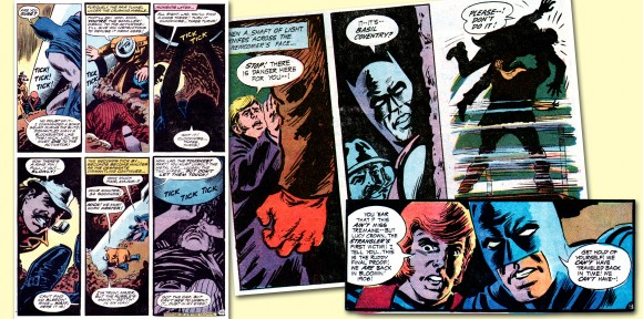 A master of suspense in four-color panels, Nick Cardy struts his chops in this mélange of artwork from B&B #92. Note the reversed page numbering on the bottom right panel, the signature of expert letterer (and no slouch in the cartooning department himself) John Costanza. TM & © DC Comics.