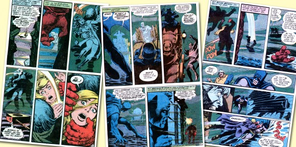 A triptych of pages from Nick Cardy's lovely work depicting foggy Olde London Towne in B&B #92. TM & © DC Comics.