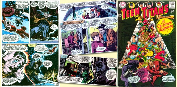 From left, page and panels from Teen Titans #13[Jan.–Feb. 1968], drawn by Nick Cardy and written by Bob Haney, where the artist went to town with his elaborate crosshatching. On right is the cover to the same issue and the artist was disappointed with the DC production department's coloring, which obliterated the background artwork. All TM & © DC Comics.