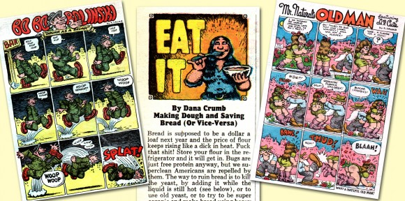 Doubtless the greatest cartoonist to grace The Funny Papers is R. Crumb, who contributed strips to all three issues, as well as the header illustration [center] for then-wife Dana's foodie column. We'll be taking a deeper look into the underground luminaries who were featured in the four-colored mag in a forthcoming installment of Alternative Fridays. ©2013 the respective copyright holders.