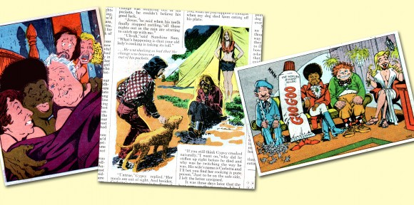 "Imagine my surprise to find contributions to this hippy/stoner rag of a mag from comic book veteran and stalwarts Marie Severin and George Evans! The Mirthful One drew the All in the Family parody at left and the talk show ill on right while ""Air Ace"" Evans illustrated a Sleuthing feature. ©2013 the respective copyright holders."