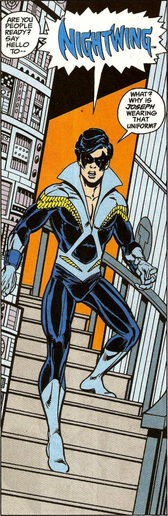 Dick forgoes the short pants and steps out as Disco Nightwing for the first time. Tales of the Teen Titans #44. July 1984.