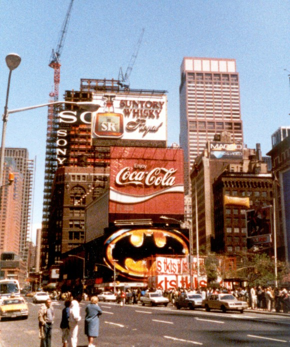 Batmania in Times Square. Pic courtesy of the anonymous Internet.