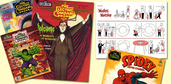 Prior to being asked to come on board as The Funny Papers art director, Ron Barrett was making an impact as AD on The Electric Company Magazine, which was notable for its splashy graphics and plethora of comics 'n' cartoons. One of the contributors was the renowned Roy Doty and a sample of his cartooning appears at upper right. We're pretty sure these covers are NOT among the issues Ron art directed but these were samples we found on that interweb thingie, with a John Romita Spidey kids book cover thrown in for good measure. All items TM & © the respective copyright holders. Hulk & Spider-Man TM & ©2013 Marvel Characters, Inc. Dracula TM & ©2013 Universal Studios, Inc.