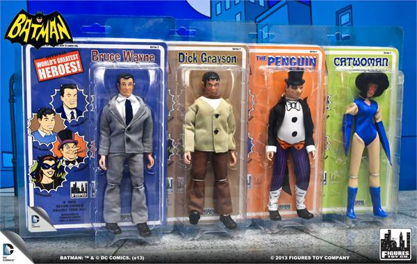 Wave 2 of the Mego-style Batman line, just coming out now. I never had the Bruce and Dick mail-away outfits.