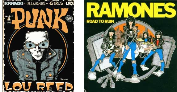 John Holmstrom's cover to Punk Magazine and Ramones Road To Ruin