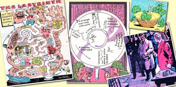 Besides the clever headers executed by The Funny Papers art director Ron Barrett, the cartoonist also included various illustrations for the tabloid which showcased his artistic versatility. The two on left were part of the regular puzzle features found in the mag. ©2013 the respective copyright holder.