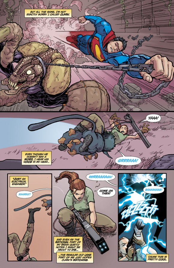 Page 12. Superman on the scene!