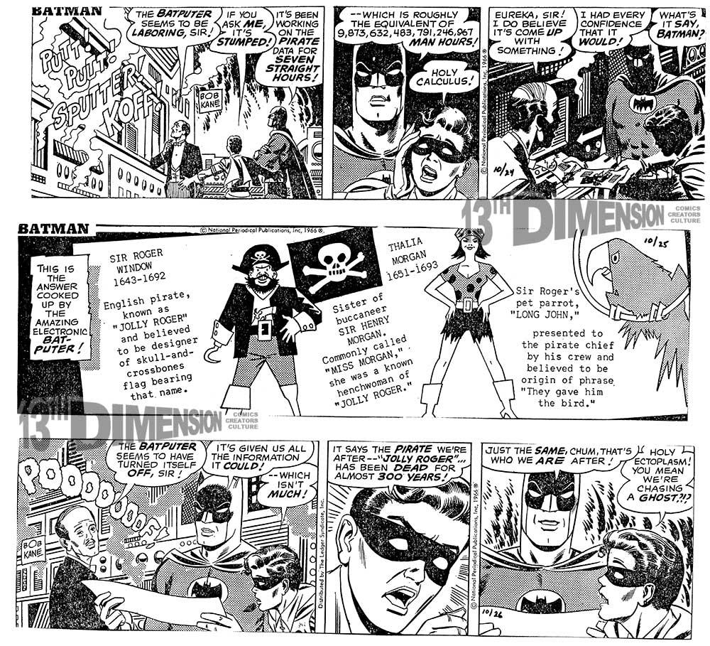 Daily strips, before restoration. Batman ™ and © 2014 DCComics.