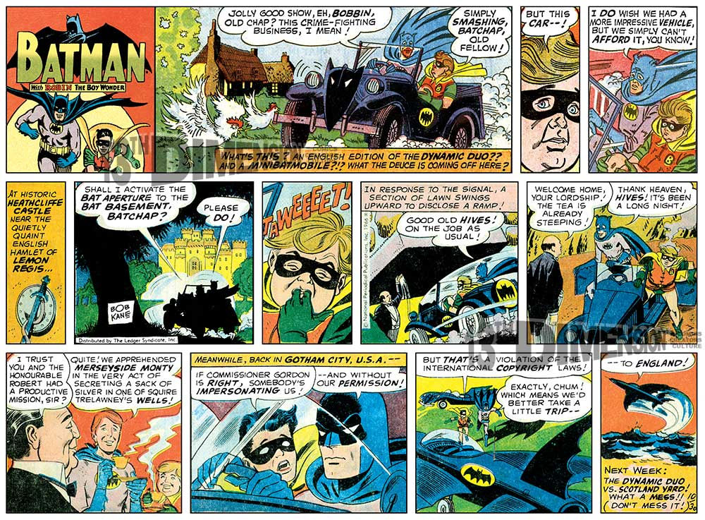 Half-page strip, restored. Other versions below. Batman ™ and © 2014 DC Comics.