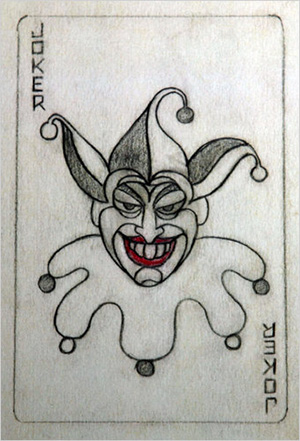 Robinson sketch of the famous Joker card.