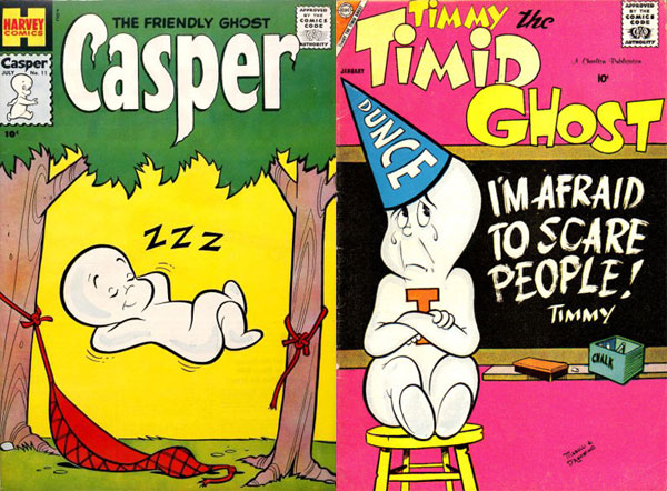 Left: The Friendly Ghost, Casper #11 (July 1959), art by Warren Kremer. Right: Timmy the Timid Ghost #13 (January 1959), art by Pat Masulli and Jon D'Agostino.