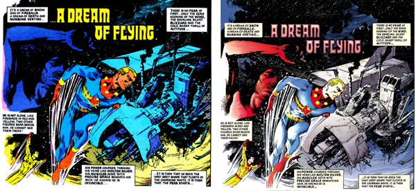 Left: from MIRACLEMAN #1 (Eclipse, 1985); Right: remastered panel from MIRACLEMAN #1 (2014)