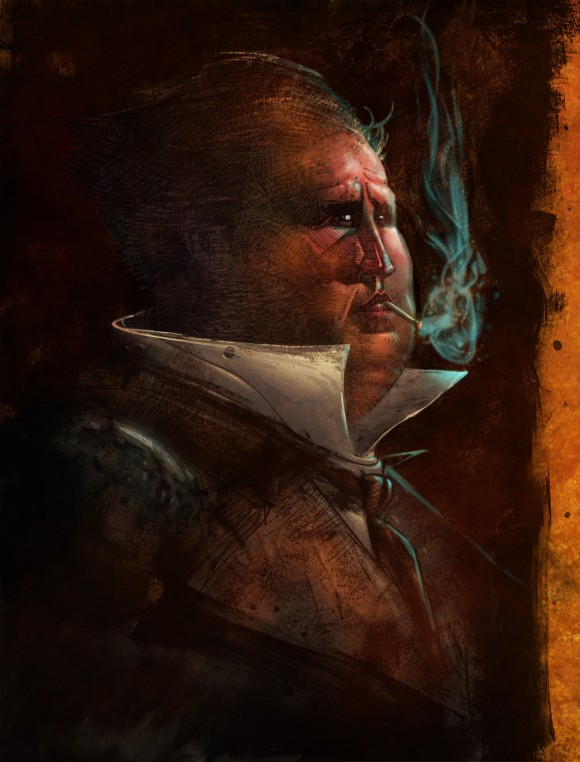 A piece from part 2 of Sharp's Sherlock Holmes story, with art by Sharp and Bill Sienkiewicz...